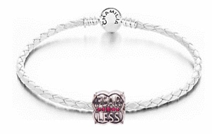 breast cancer awareness products - chamilia white leather bracelet