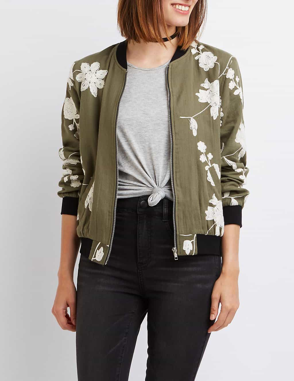 embroidered clothes - green and white bomber jacket with embroidery