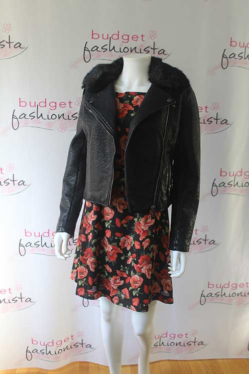 moto jacket with a floral dress
