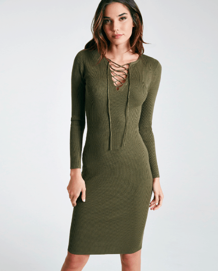 green, lace-up midi sweater dress