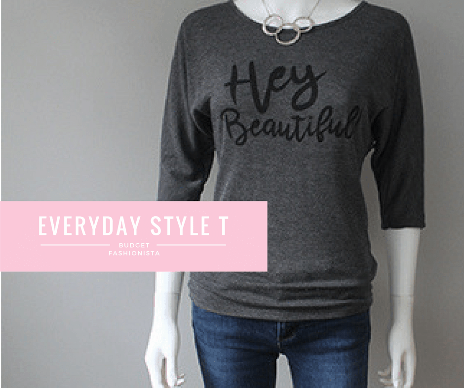 grey t shirt with 3/4 sleeves