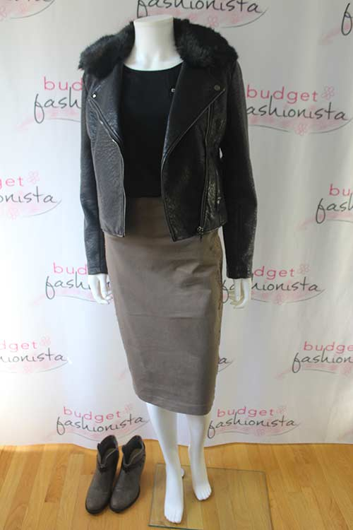 how to style a moto jacket - mannequin wearing a moto jacket with a midi skirt