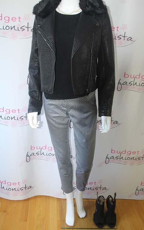 mannequin wearing moto jacket with cropped pants