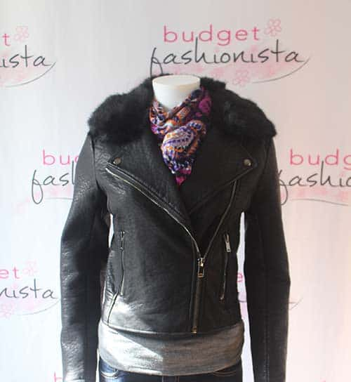 moto jacket with floral scarf