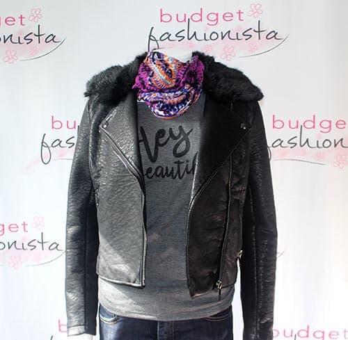 moto jacket with scarf and untucked shirt