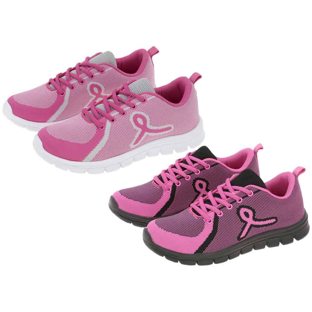 pink ribbon athletic shoes
