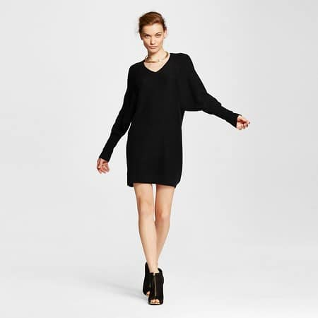 sweater dresses - woman wearing black sweater dress