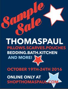 thomas paul sample sale flyer