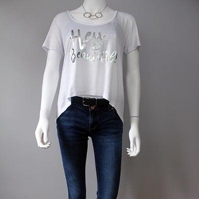 white tee shirt with hey beautiful slogan