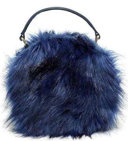 Blue fuzzy handbag