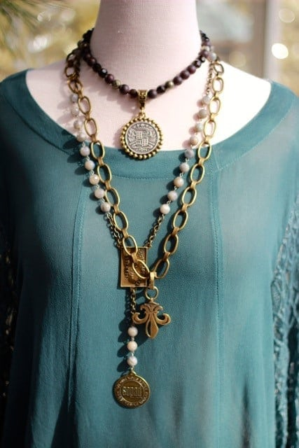 alpharetta shopping guide - la bella maison - green top paird with statement necklace