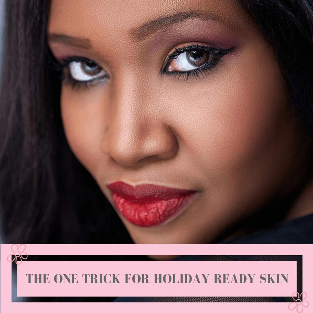holiday-ready skin - close up of woman with glowing skin