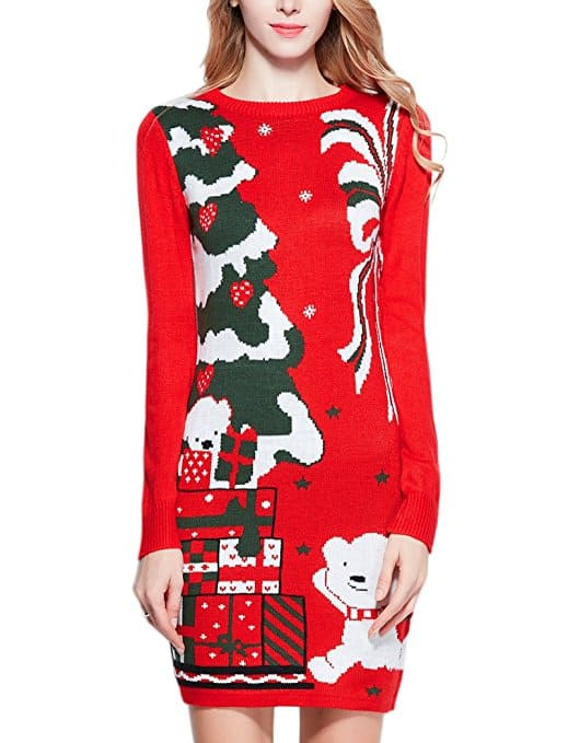 ugly christmas sweaters - red sweater dress