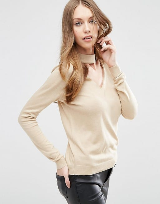 choker trend - beige, slim fit sweater with choker detail