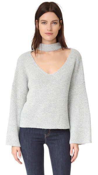 choker trend - boho style sweater with built-in choker and wide sleeves