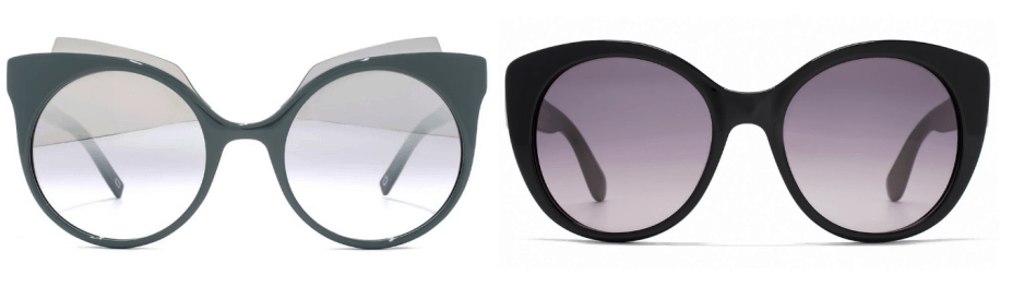 sunglasses trends - two pairs of sunglasses with round rims