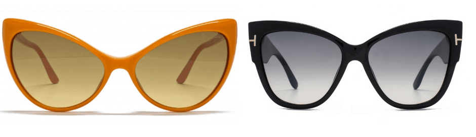 sunglasses trends - two pairs of sunglasses with cat-eye rims