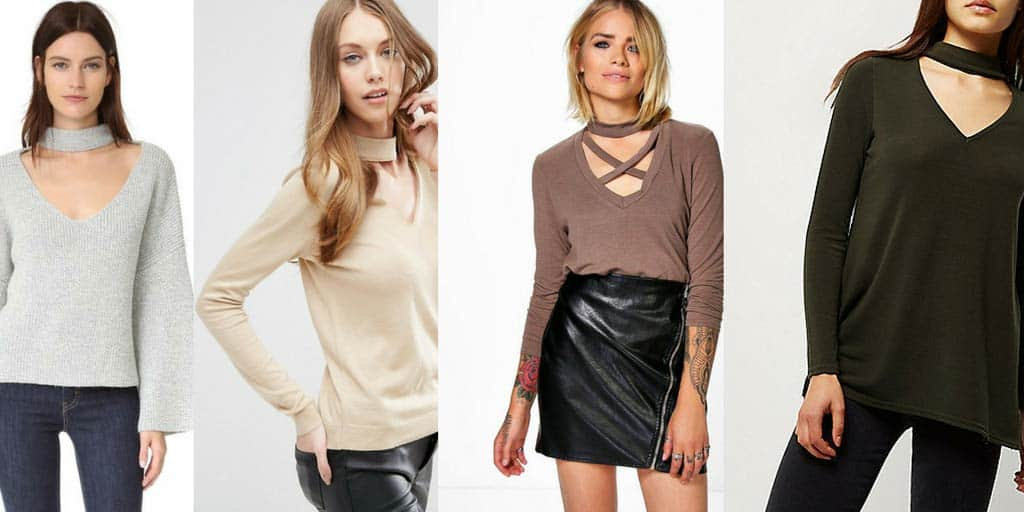 choker trend - four sweaters with choker necklines