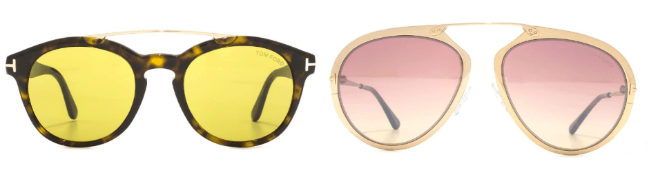 sunglasses trends - two pairs of sunglasses with colored lenses