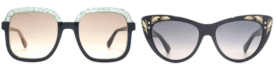 sunglasses trends - two pairs of sunglasses with adorned rims