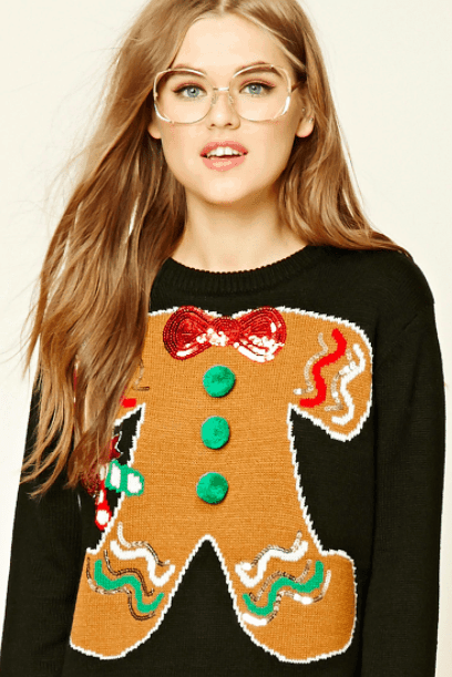 ugly christmas sweater - black sweater with gingerbread man design