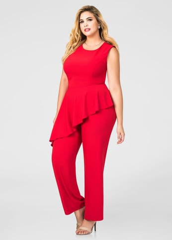 plus size dresses - red jumpsuit