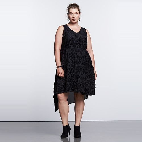 plus size dresses: black velvet cocktail dress