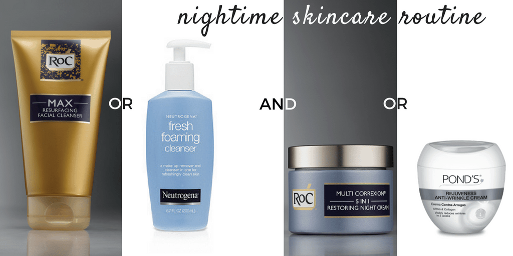 nighttime skincare routine - product collage