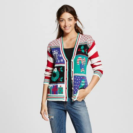 ugly christmas sweaters - patchwork cardigan