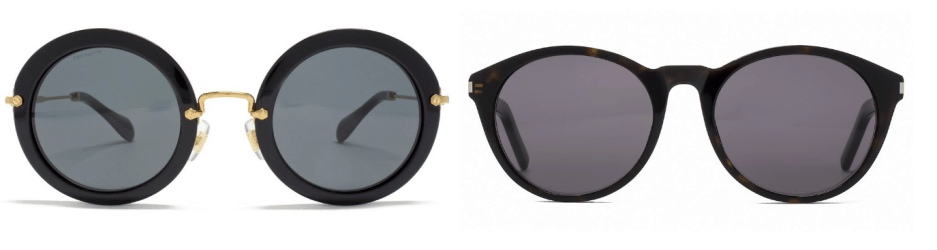 sunglasses trends - collage of two pairs of white sunglasses
