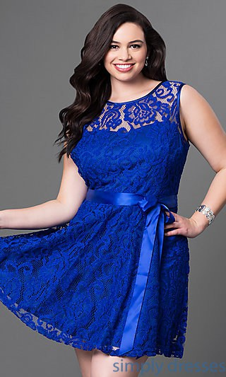 plus-size dresses - royal blue lace cocktail dress
