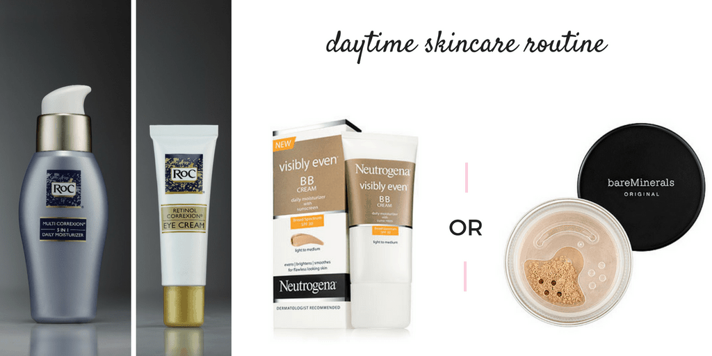 daytime skincare routine - product collage