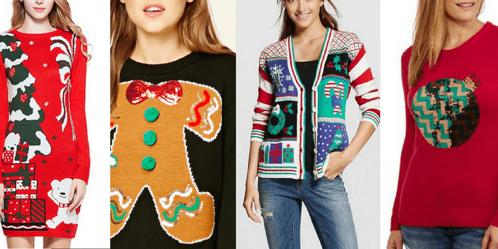 ugly christmas sweaters - collage of holiday sweaters