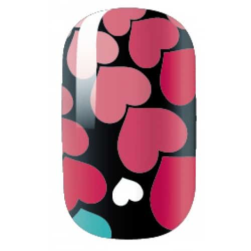 nail art designs - black nail with multicolored hearts