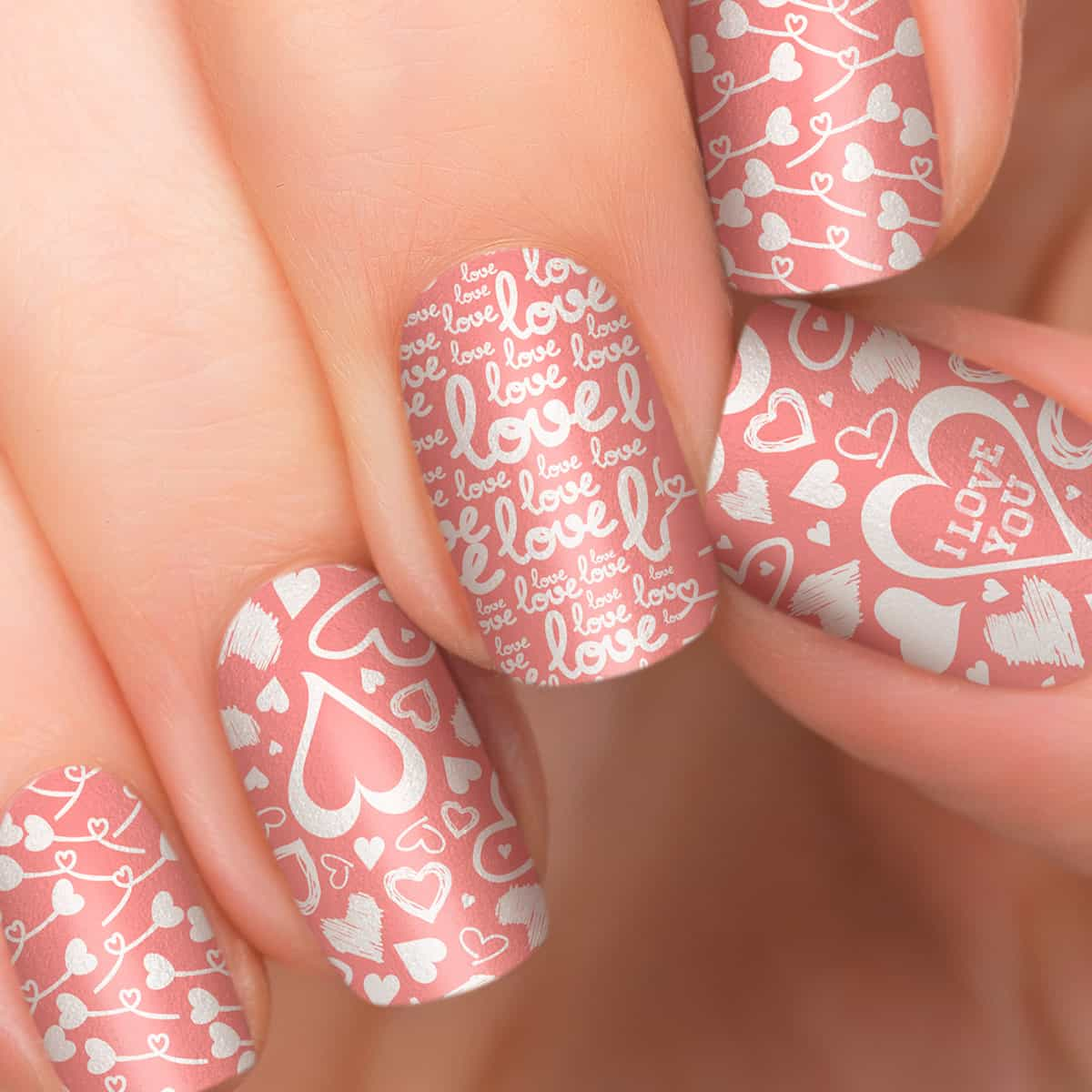 nail art designs - soft pink nail art with hearts