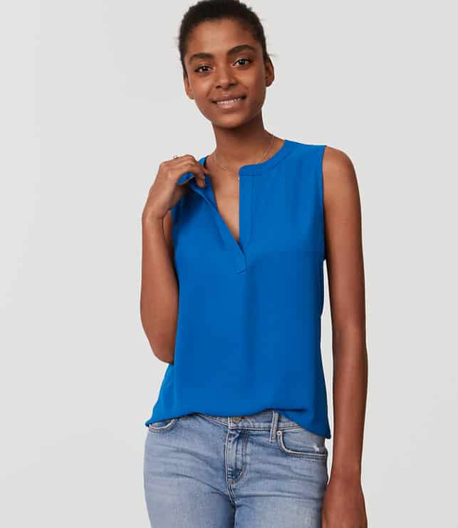 what to wear to jury duty - blue shell top for layering