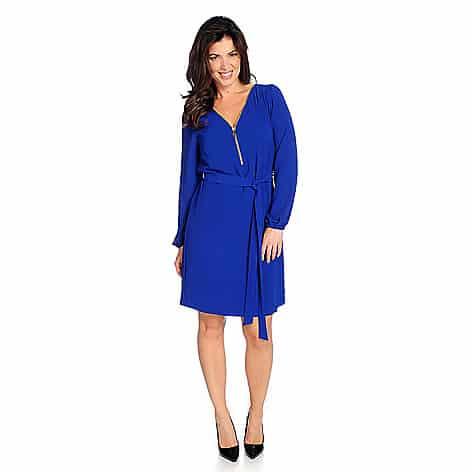 date night dresses - royal blue wrap dress with zipper detail