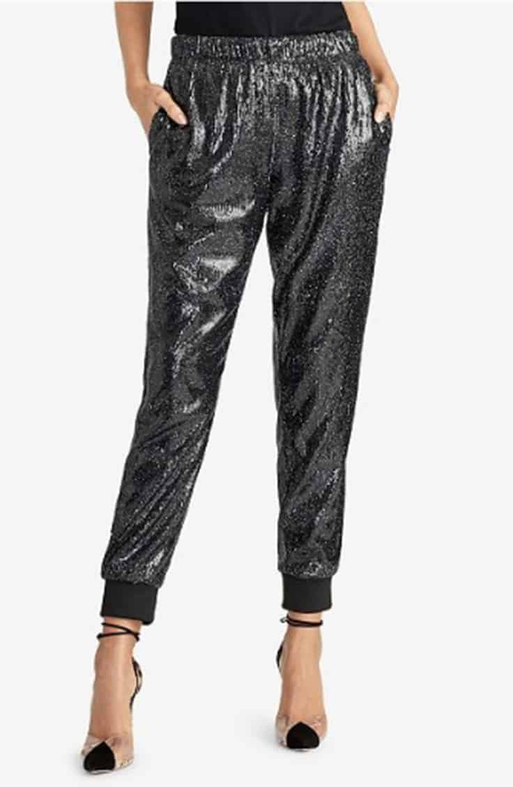 Sequined jogger with heels