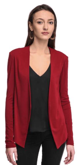 what to wear to jury duty- red knit blazer