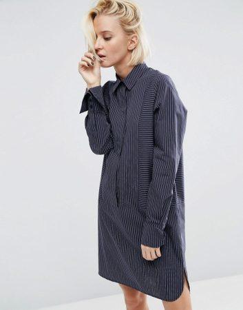 Spring fashion 2017 must haves - dark, oversized pinstriped shirt dress