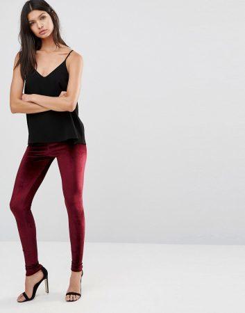 spring fashion 2017 must-haves - red velvet leggings