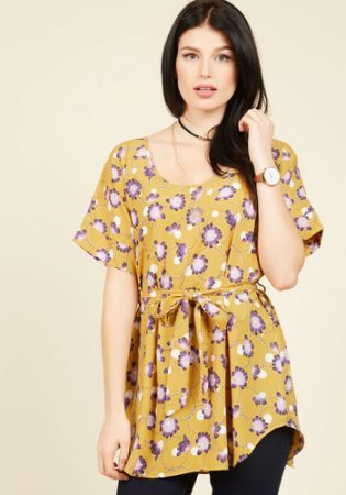 Floral belted tunic