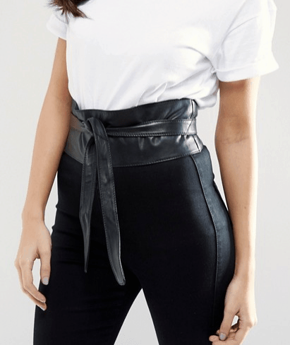 runway inspired spring accessories - wide black leather belt from asos