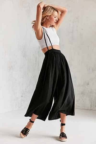 black wide-legged culottes with suspender strap