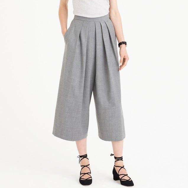 gray wool culottes