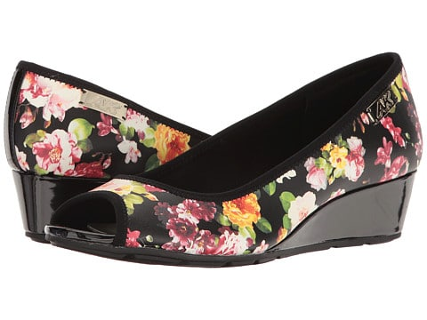spring shoes collection - patent wedge low heel with floral print