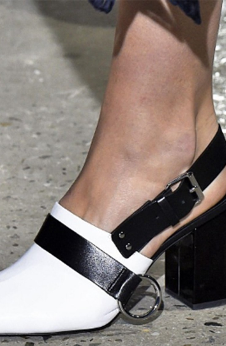 Black and white block heel shoe with buckles