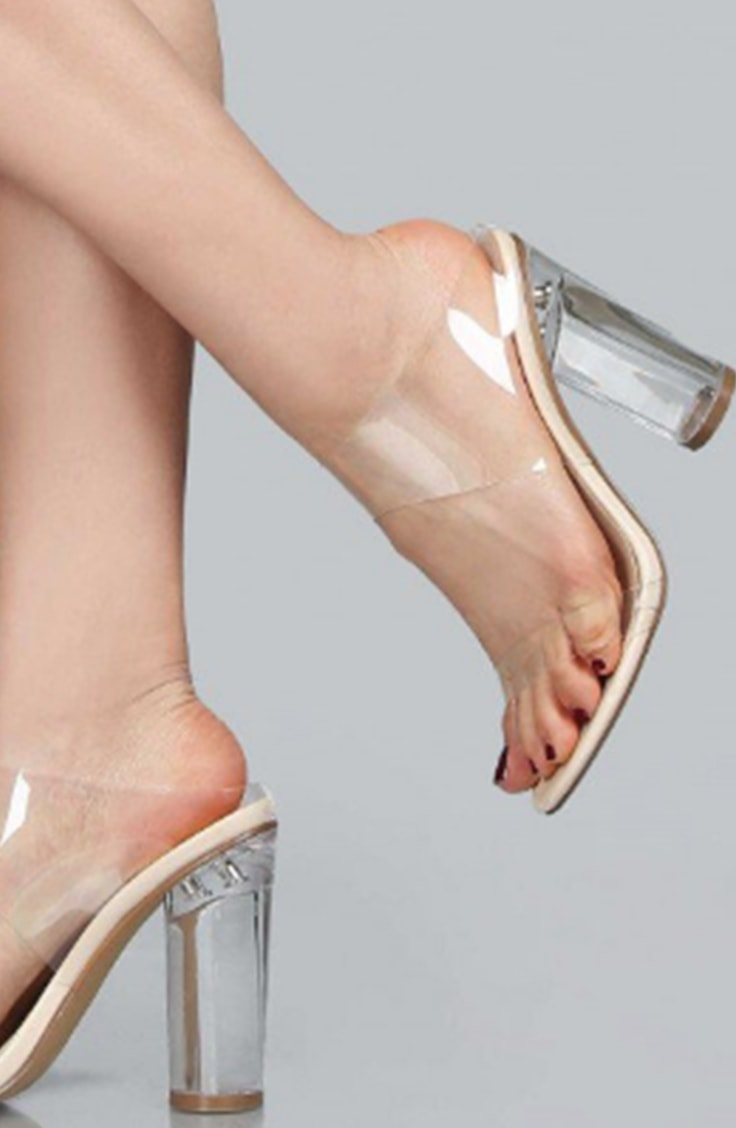 Clear block heel pumps
