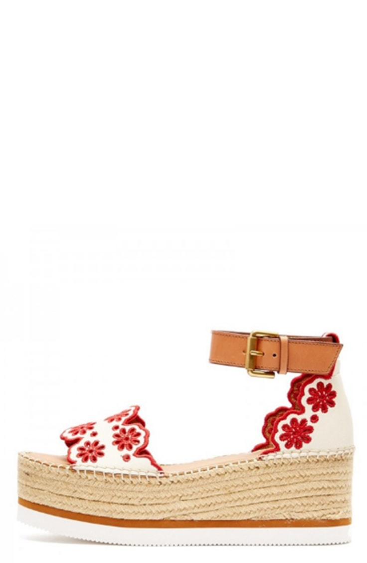 Embroidered sandal with platform heel