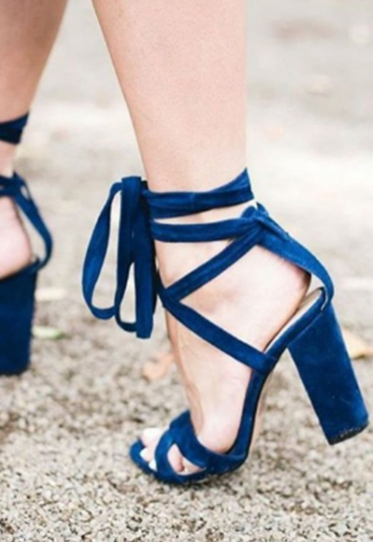 Strappy blue heeled sandals